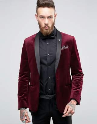 ASOS Skinny Blazer In Burgundy Velvet $106 thestylecure.com