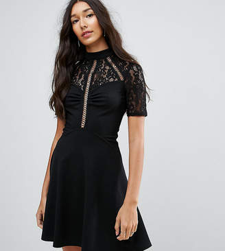 b50c90f90909 Asos Tall TALL High Neck Skater Dress With Lace Panel