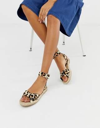 Asos Design DESIGN Jiana leopard espadrille sandals
