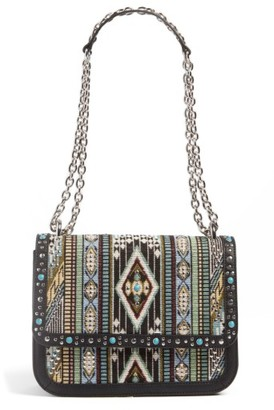 Chelsea28 Dahlia Embroidered Faux Leather Crossbody Bag - Black $119 thestylecure.com