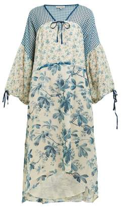 D'Ascoli Whitney Floral Print Tie Waist Cotton Dress - Womens - Blue Print