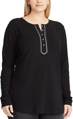 Chaps Plus Size Embellished Henley Top