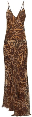 Raey Dip Hem Tiger Print Sheer Silk Slip Dress - Womens - Brown Multi