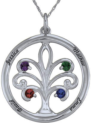 JCPenney FINE JEWELRY Personalized Sterling Silver Family Tree Birthstone Pendant Necklace