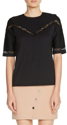 Women's Maje Lace Trim Pintuck Tee $190 thestylecure.com