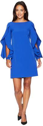 Vince Camuto Solid Shift with Ruffle Sleeve Detail Women's Dress