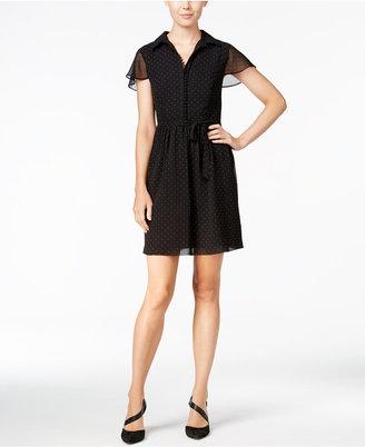 kensie Flutter-Sleeve Polka-Dot Dress $99 thestylecure.com