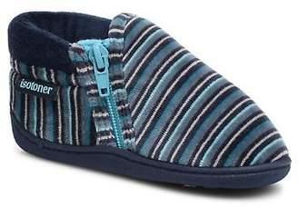 Isotoner Kids's Bottillon Zip Velours Slippers in Blue