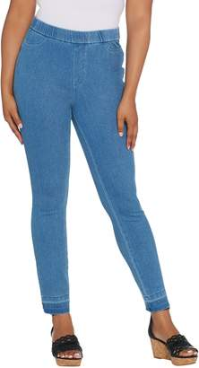 Isaac Mizrahi Live! Petite Knit Denim Slim Leg Jeans with Let Down Hem