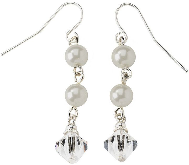 1928 ® Silver Tone Simulated Pearl & Crystal Drop Earrings