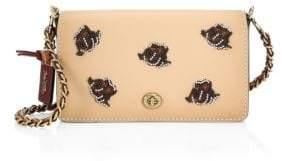 Coach Rose Appliqué Leather Crossbody Bag