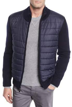 Neiman Marcus Men's Quilted Water-Repellent Jacket with Knit Trim
