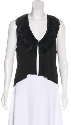 Rozae Nichols Feather-Trimmed Sleeveless Top