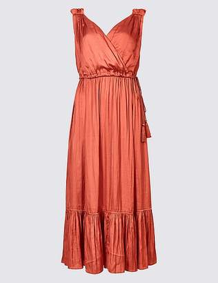 Marks and Spencer Satin Tiered Slip Midi Dress