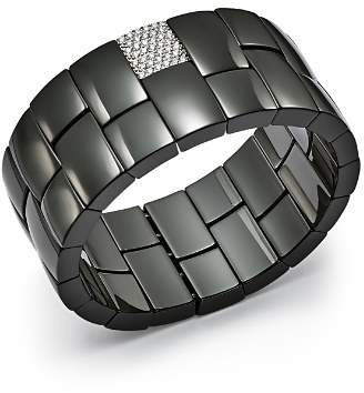 Roberto Demeglio 18K White Gold & Black Ceramic Domino Two-Row Stretch Bracelet with Diamonds