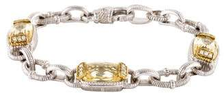 Judith Ripka Two-Tone Canary Crystal & Diamond Link Bracelet