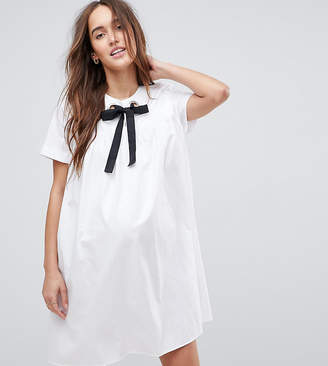 Asos Smock Mini Dress With Eyelet Detail And Grosgrain Tie