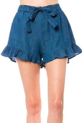 Love Tree Ruffle Belted Denim-Shorts