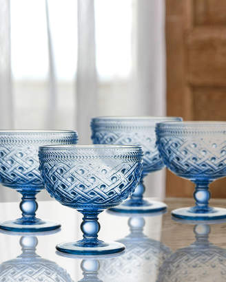 Jay Import Co Bistro Ikat Blue Pedestal Bowls, Set of 4