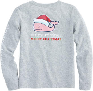 Vineyard Vines Girls Long-Sleeve Santa Whale Pocket Tee