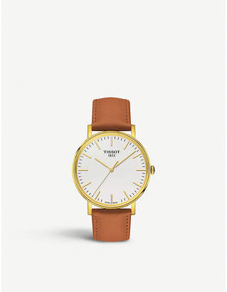 Tissot T109.410.36.031.00 gold-plated stainless steel and leather watch