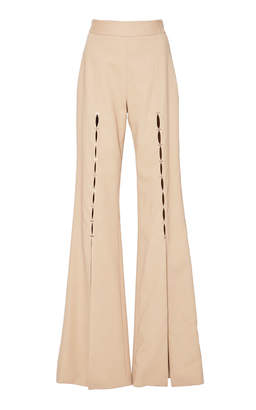 Jonathan Simkhai Twill Tailored Front Slit Staple Pant