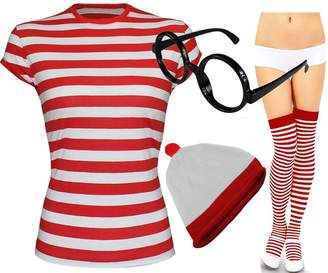 RIDDLED WITH STYLE Womens Red and White Stripe T-Shirt Socks Glasses Ladies Hat#(Red And White Stripe T-Shirt#UK 8-10#Womens)