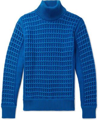 S.N.S. Herning Textured Merino Wool Rollneck Sweater - Blue