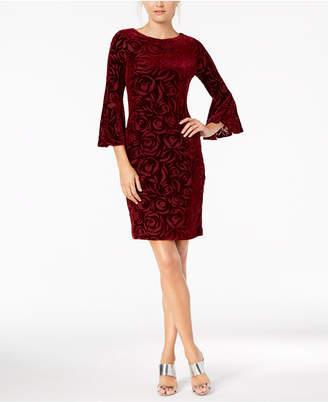 Calvin Klein Burnout Velvet Bell-Sleeve Dress