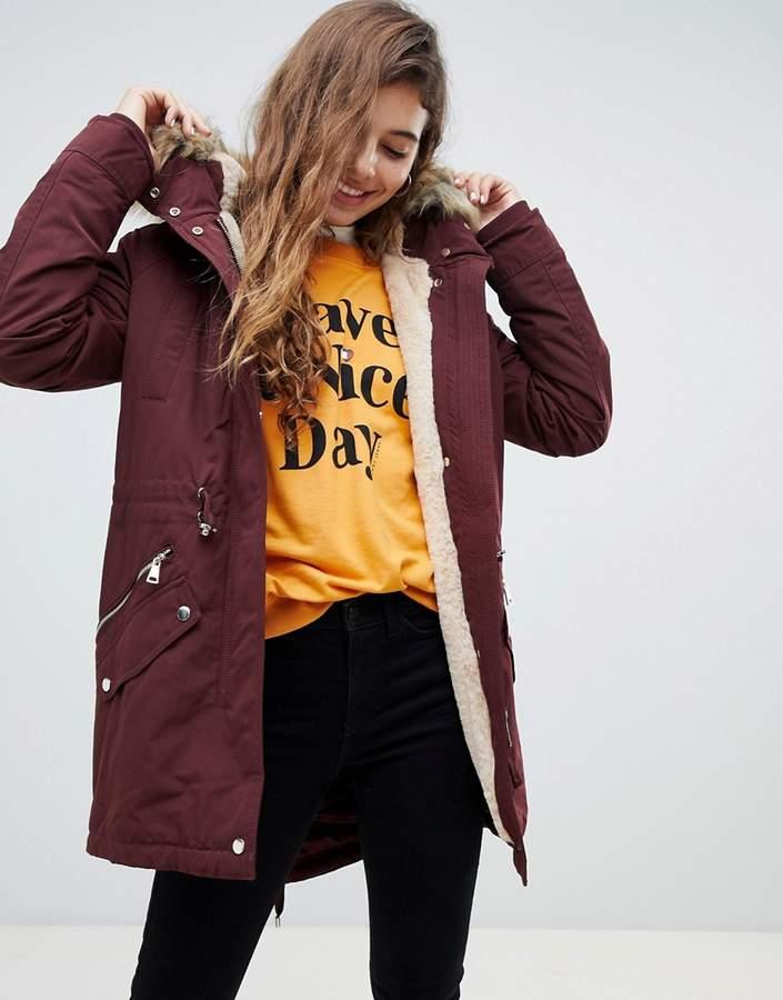 faux fur hood parka jacket