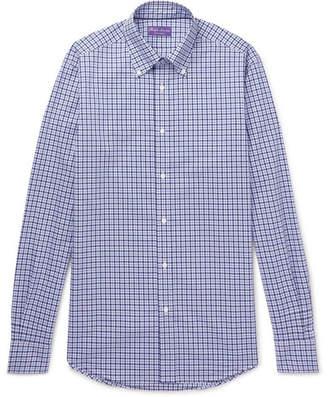 Ralph Lauren Purple Label Button-down Collar Checked Cotton Shirt - Blue