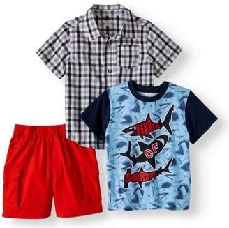 Garanimals Toddler Boys' Woven Plaid Shirt, Graphic T-Shirt and Cargo Shorts, 3-Piece Set