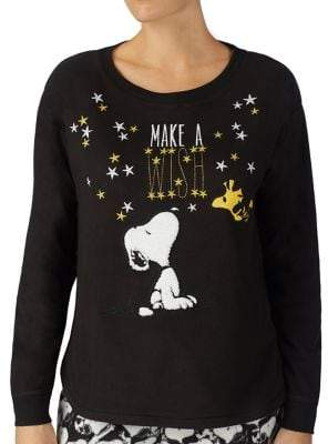 Peanuts Embroidered Pajama Top
