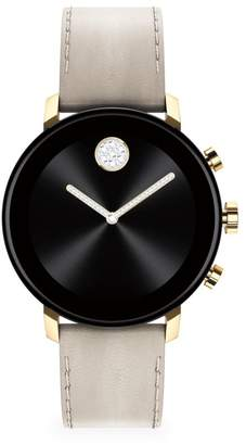 Movado Connect 2.0 Ion-Plated Light Gold and Black Stainless Steel & Leather Strap Smart Watch