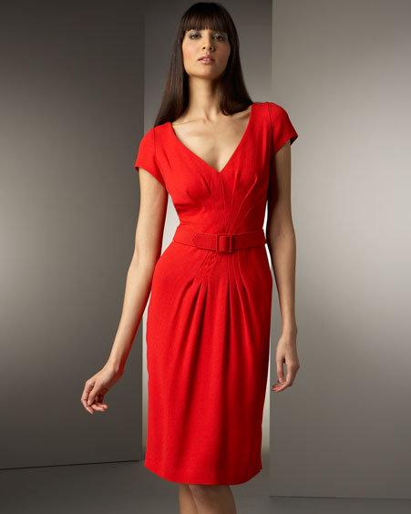 Chetta B Belted Crepe Dress