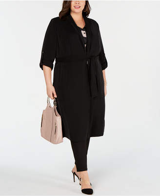 INC International Concepts I.n.c. Plus Size Open-Front Trench Coat