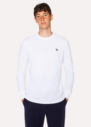 Paul Smith Men's White Organic-Cotton Zebra Logo Long-Sleeve T-Shirt