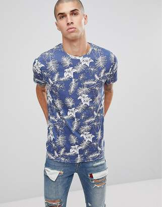 Brave Soul All Over Tropical Print T-Shirt