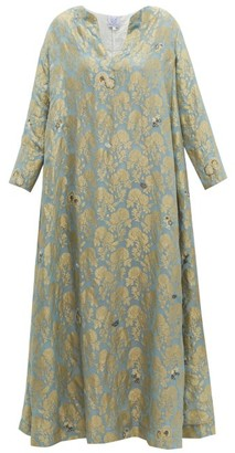 Thierry Colson Samia Silk Floral Brocade Dress - Womens - Blue