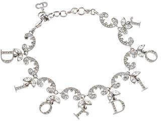 Christian Dior Christian Dior Crystal Logo Charm Bracelet