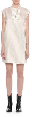 Unravel Sleeveless Striped Silk A-Line Dress