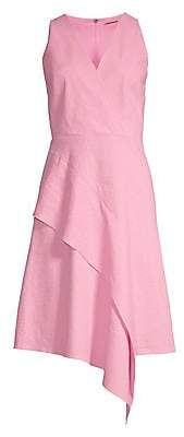 Elie Tahari Women's Isa Diagonal Ruffle A-Line Dress