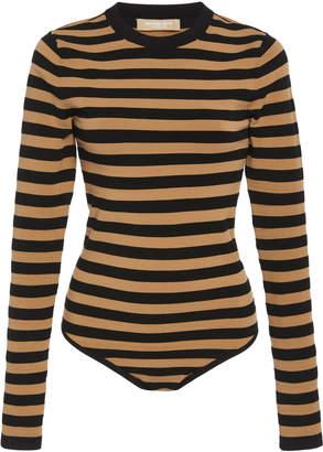 Michael Kors Long Sleeves Striped Bodysuit