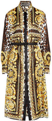 Versace Printed Silk Dress with Leather Belt