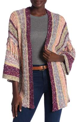 Flying Tomato Fringe Trim Knit Cardigan