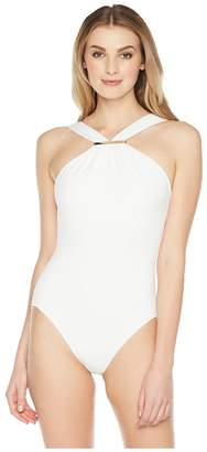 MICHAEL Michael Kors Iconic Solids Logo Bar High Neck One-Piece Swimsuit w/ Removable Soft Cups Women's Swimsuits One Piece