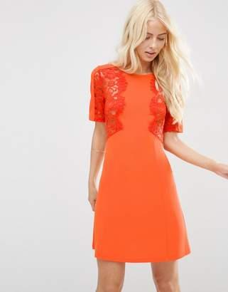 Asos Lace Insert Shift Mini Dress