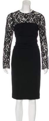Dolce & Gabbana Lace-Paneled Wool-Blend Dress Black Lace-Paneled Wool-Blend Dress