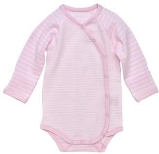 Under the Nile Baby Girl Organic Cotton Pale Pink Stripe Long Sleeve Side Snap Bodysuit with Mitts