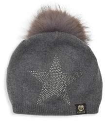 Dyed Fox Fur Pom Pom Star Rhinestone Beanie